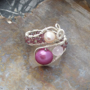 Sterling Silver Wire Wrapped Pearl Ring, adjustable