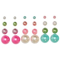 12 Pairs Faux Pearl Earring Studs, in Multi/Pastel