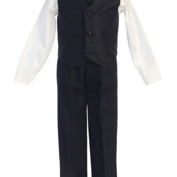 Black Poly Silk Vest & Black Pants 4 Pc Outfit (Baby 6 months - Little Boys Sz 7)