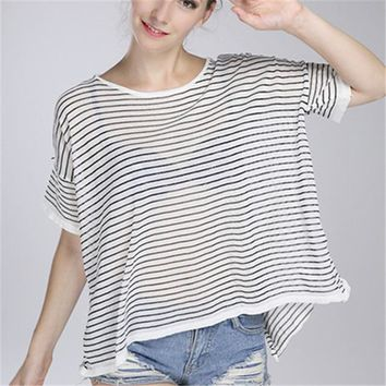 2016 New Fashion Women clothing Look Through T shirts Stripped t-shirt Women Top Short Sleeve Female Knitting tops 71686