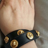 VERSUS VERSACE WOMENS BRACELET LEATHER WRAP AROUND BLACK MEDUSA BRECELET