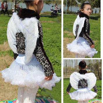 2016   newest      Kids Girls White Feather Fairy Angel Wings Christmas Halloween Party Costume