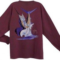 Guy Harvey Sailfish Flip Back-Print Vintage Long Sleeve T-Shirt