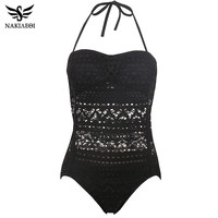 NAKIAEOI One Piece Swimsuit Push Size Swimwear Women 2017 Sexy Beach Lace Crochet Monokini Swimsuit Retro Bathing Suit Swim Wear