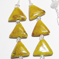 Mustard Gold Porcelain Triangles with White Glass Necklace
