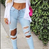 Knee Cut Out Holes Solid Color Slim Long Jeans