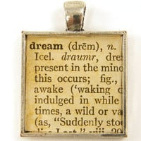Dream Jewelry - Word Dictionary Page Sepia Square Resin Tan Silver Pendant Charm
