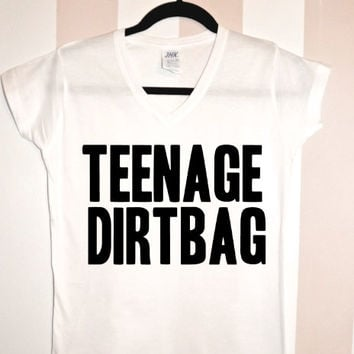 Teenage Dirtbag One Direction V-Neck Shirt Nialler Zayn Malik Harry Styles Liam Louis Niall Horan 1D Hipster #102