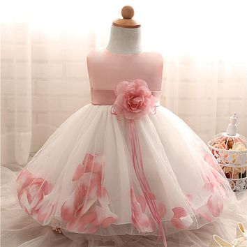 Petal Hem Baptism Newborn Wedding Girls Formal wear Summer 2017 Princess Birthday Party Dress girl clothes infant kids dresses