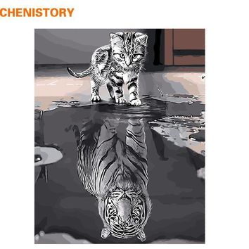 Frameless Reflection Cat Animals DIY Painting By Numbers Modern Wall Art Canvas Painting Unique Gift For Home