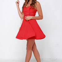It's Electric Red Lace Dress