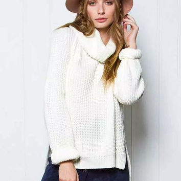 Asymmetrical Loose Raglan Sleeve High-Neck Knit Sweater