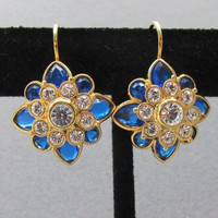Vintage Signed Joan Rivers 12 Colors Interchangeable Rhinestone Flower Lever Back Pierced Earrings