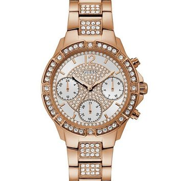 Rose Gold-Tone and White Watch at Guess