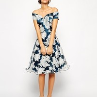 Chi Chi London Printed Organza Midi Prom Dress with Bardot Neck