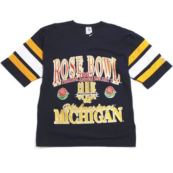 University of Michigan 1993 Rose Bowl Logo7 Football Raglan Navy (Large)