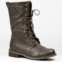 Brown Military Lace Up Mid Calf Combat Boot Nature Breeze Lug-11