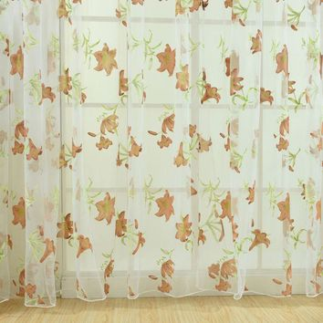 1PC Window Curtains Sheer Voile Tulle for Bedroom Living Room Balcony Kitchen Printed Tulip Pattern Sun-shading Curtain 1M*2M