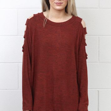 Brushed Hacci Ladder Cutout Long Sleeve {Rust}