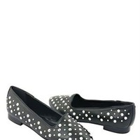 Eye Stud & Spike Embellished Leather Flats - Italian Summer Shoes by Eye Brand - Modnique.com