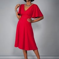 Laura Byrnes California Viva Dress in Red Crepe