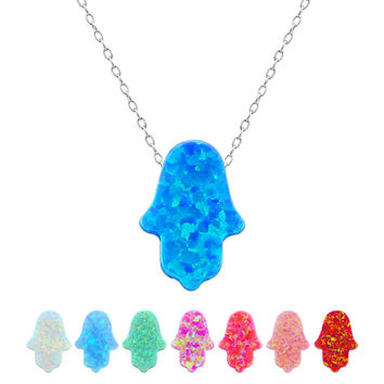 Opal hamsa necklace women fatima hand necklace natural stone silver 925 fire opal necklaces & pendants jewish collares mujer red