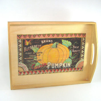 Serving Tray Decoration - Wood Pyrography - Pumpkin Fruit Crate Label wall art