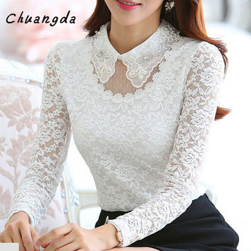 Women blouses New 2016 autumn casual blouse Fashion Elegant White Peter Pan Collar Long Sleeve Lace Fleece Blouse Shirt