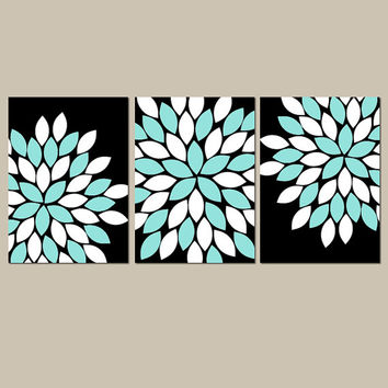 Black Aqua Wall Art CANVAS or Prints Flower Burst Bedroom Artwork Bathroom Pictures Girl Nursery Wall Art Pictures Set of 3 Match Home Decor