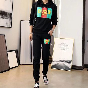 gucci women casual fashion solid color g letter loose hooded long sleeve knit sweater shorts set two piece