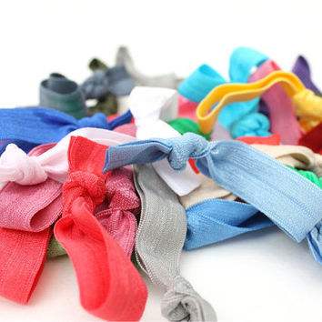 20 Elastic Hair Ties Grab Bag - Women's Hair Accessories - Ribbon Hair Ties - Emi Jay Inspired Cloth Hair Bands - Soft Stretchy Hairties