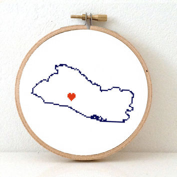 EL SALVADOR map modern cross stitch pattern. El Salvador art. san Salvador map. Gift for latino