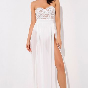 In For A Treat White Sequin Strapless Sweetheart Neck Sheer Chiffon Double Slit Maxi Dress