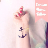 Set of 2 Custom Name/Text Anchor temporary tattoo personalized gift - InknArt Temporary Tattoo - fake tattoo wedding tattoo