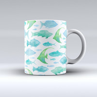 The Vivid Blue Watercolor Sea Creatures ink-Fuzed Ceramic Coffee Mug