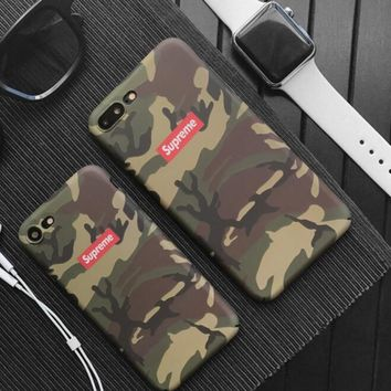 Supreme Unique camouflage iPhone 7 7 Plus 6 6s Plus Phone Cover Case Soft Frosted shell