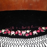 Womens Lulu Guiness Life is a Bed of Roses Black Velvet Ribbon Roses Flowers Shawl Scarf Wrap