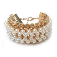 Pearl and  Gold Chain Wide Bracelet