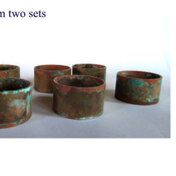 Dinner table. Table settings. Napkin rings. Copper patina. Recycled metal. Rustic napkin rings. Copper napkin rings with patina. Set of six.