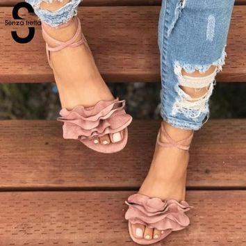 Senza Fretta Women Gladiator Sandals Lace Up Flat Heels Shoes Fashion Women Ankle Strap Summer Sandals zapatos mujer drop