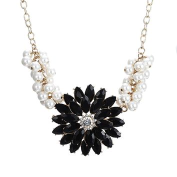 Match-Right  Resin Flower Rhinestone Simulated Pearl Statement Necklace Women Summer Style Necklaces & Pendants Colar Jewelry