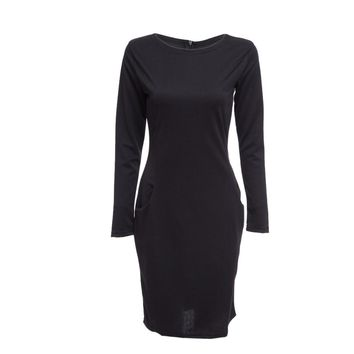 Elegant Casual Round Collar Long Sleeve Solid Plus Size Women Dress