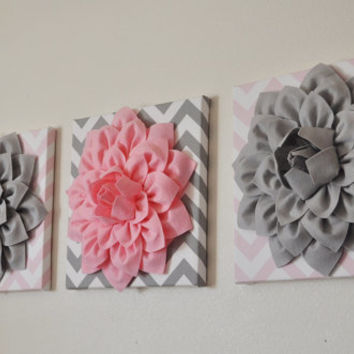 "SET OF THREE Wall Decor -Gray and Light Pink Dahlias on Light Pink Chevron and Gray Chevron 12 x12"" Canvases- Baby Nursery Wall Decor-"