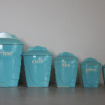 Antique French Canister/Storage Set Sky Blue Ceramic Shabby Chic Art Deco