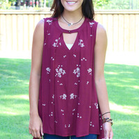 Falling Slowly Embroidered Keyhole Tank {Burgundy}