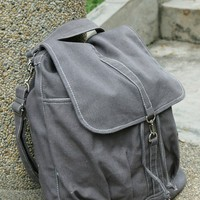 Christmas in July Sale - Back Pack Sale with 25% Off  - KINIES BACK in Gray - Backpack / Cross body Messenger / Shoulder bag
