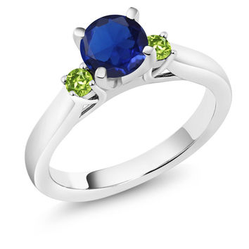 0.99 Ct Blue Simulated Sapphire Green Peridot 925 Sterling Silver 3-Stone Ring