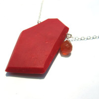 Red modern pendant, genuine gemstone necklace, genuine carnelian necklace, sterling silver pendant, bold geometric jewelry, bright red geo