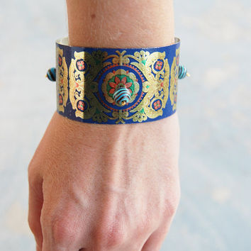 Gypsy Cuff Bracelet - Carnival in Venice Baroque Recycled Tin - Views from a Tin Collection