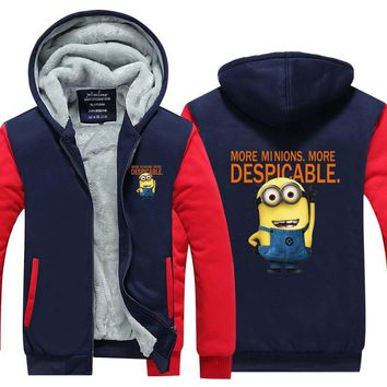 2017 Mens Hoodie Carton Movie Despicable Me Thicken Fleece Cute Yellow minions Winter Coat US EU Plus Size